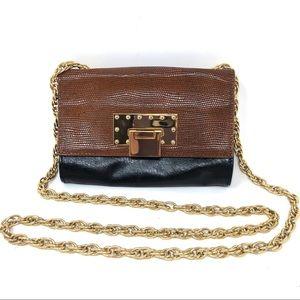 Badgley Mischka Leather Gold Chain Crossbody Bag